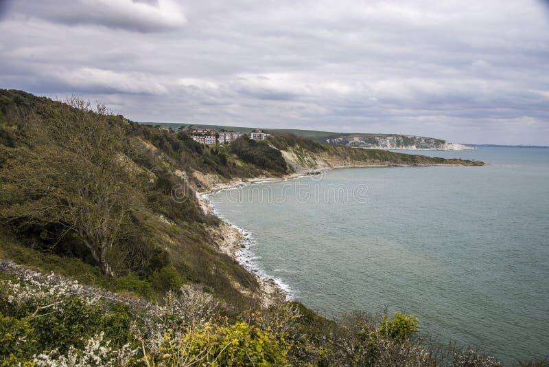 Durlston Bay. View of Durlston Bay towards Peveril Point on Dorset's Jurassic Coast stock photos