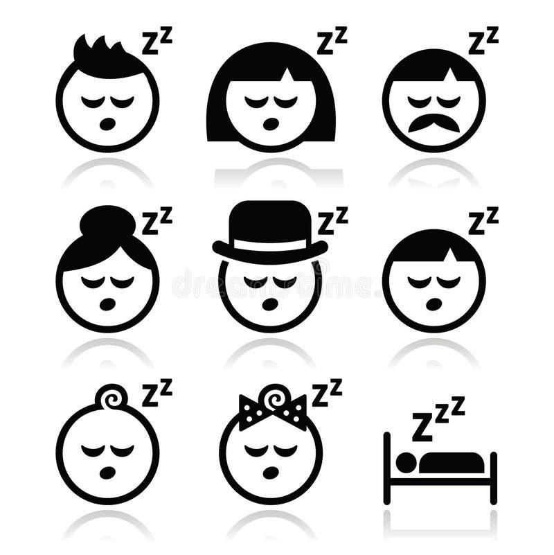 Durmiendo, soñando los iconos de las caras de la gente fijados ilustración del vector