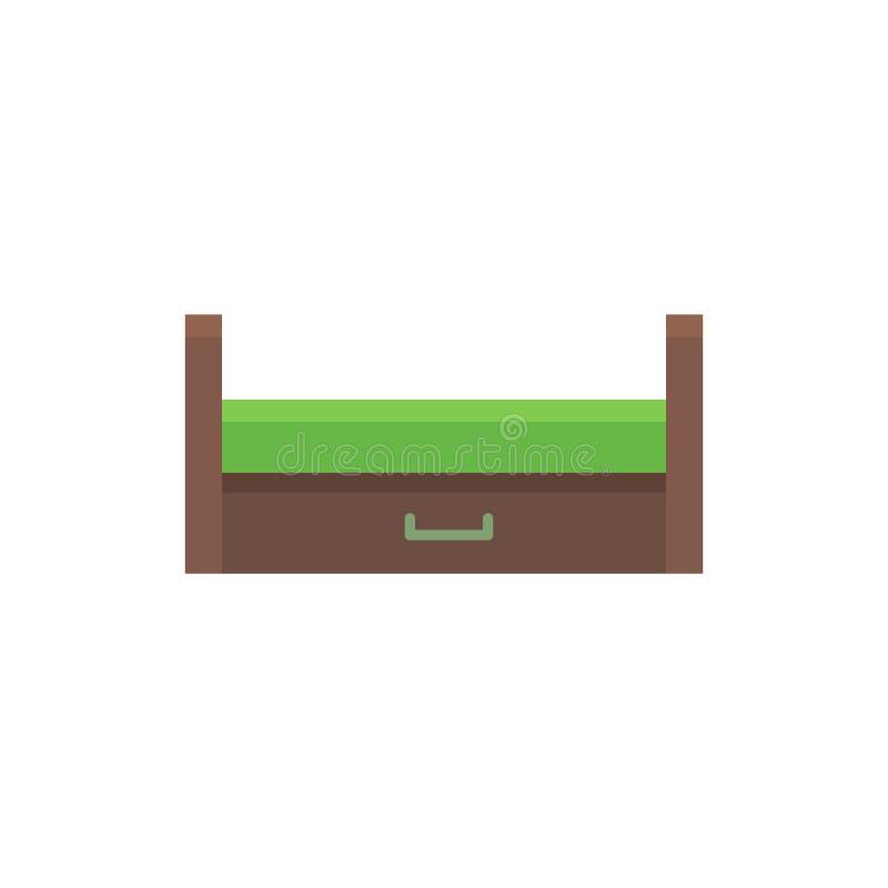 Durmiente extraible de madera Ilustración del vector Icono plano del verde stock de ilustración