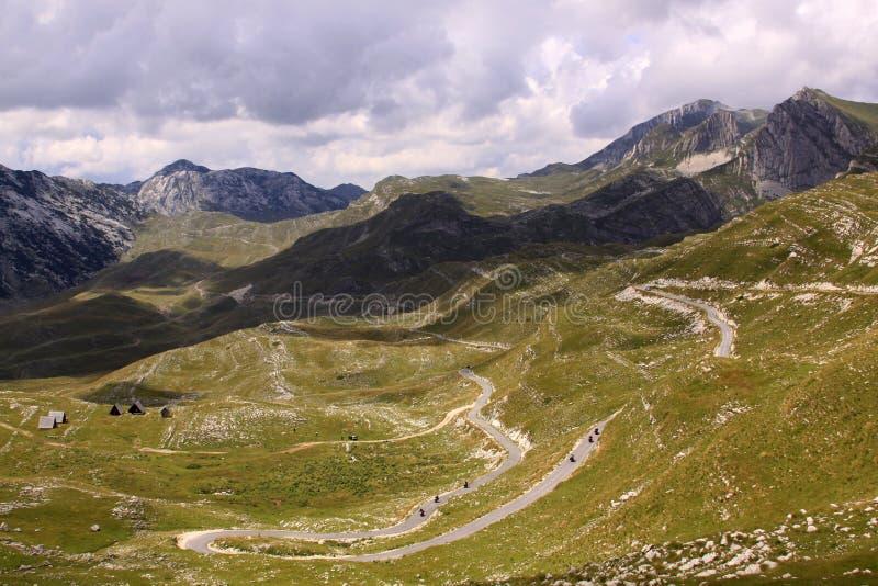 Durmitor Nationaal Park, Montenegro met weg royalty-vrije stock foto's