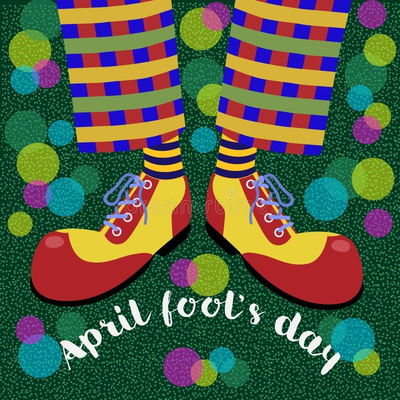 Durnia ` s dzień Śmieszy nogi błaznują w jaskrawych ogromnych butach i gulgoczą dmuchawę wektor ilustracja wektor