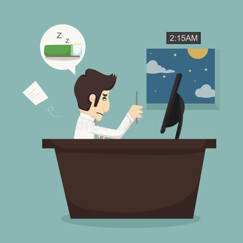 Duro lavoro dell'uomo d'affari illustrazione di stock
