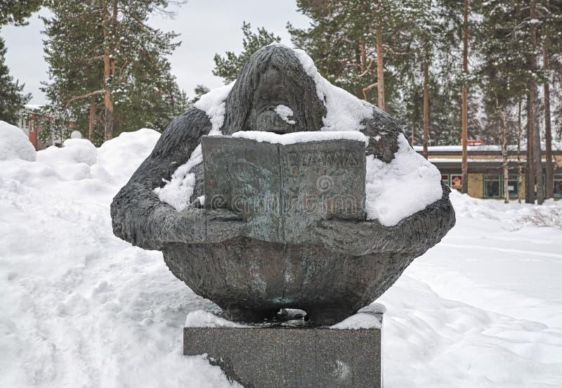 Durst für Wissensskulptur in Kaijonharju-Bezirk von Oulu, Finnland lizenzfreie stockfotos