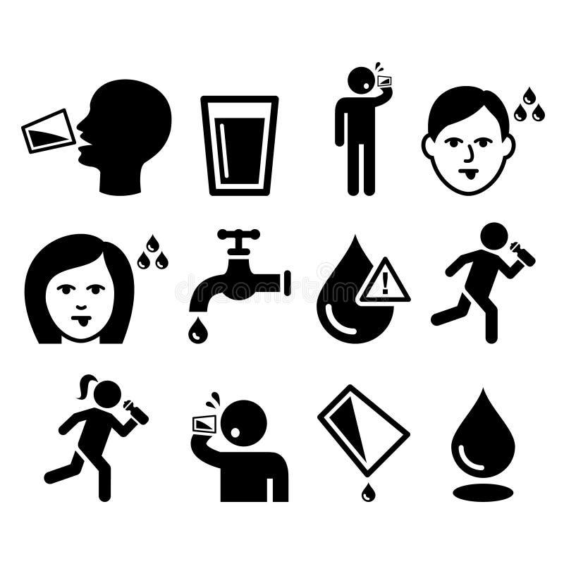 Durstiger Mann, trockener Mund, Durst, Trinkwasserikonen der Leute eingestellt stock abbildung