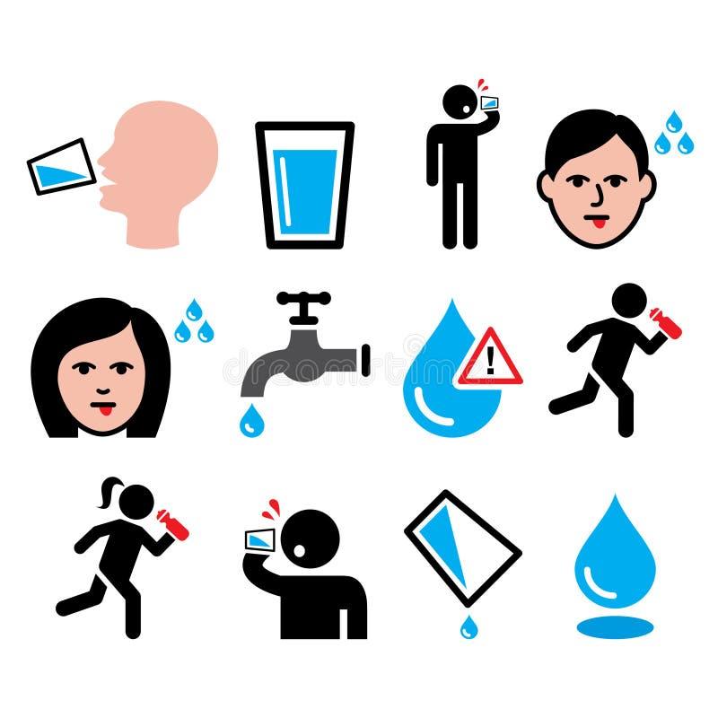 Durstiger Mann, trockener Mund, Durst, Trinkwasserikonen der Leute eingestellt lizenzfreie abbildung