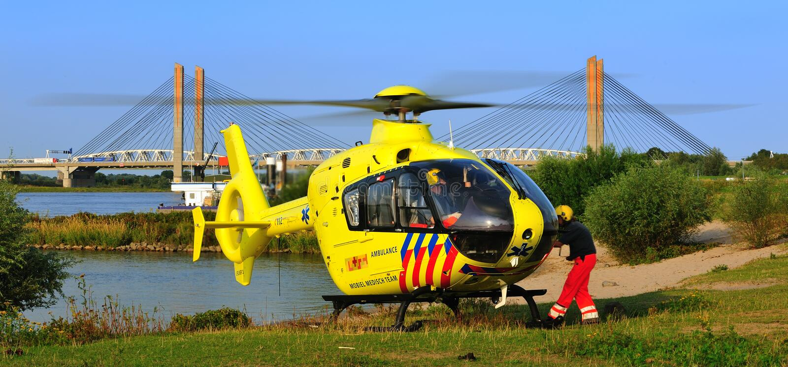 Durtch trauma helicopter. Helicopter the Lifeliner 3 in Holland royalty free stock photography