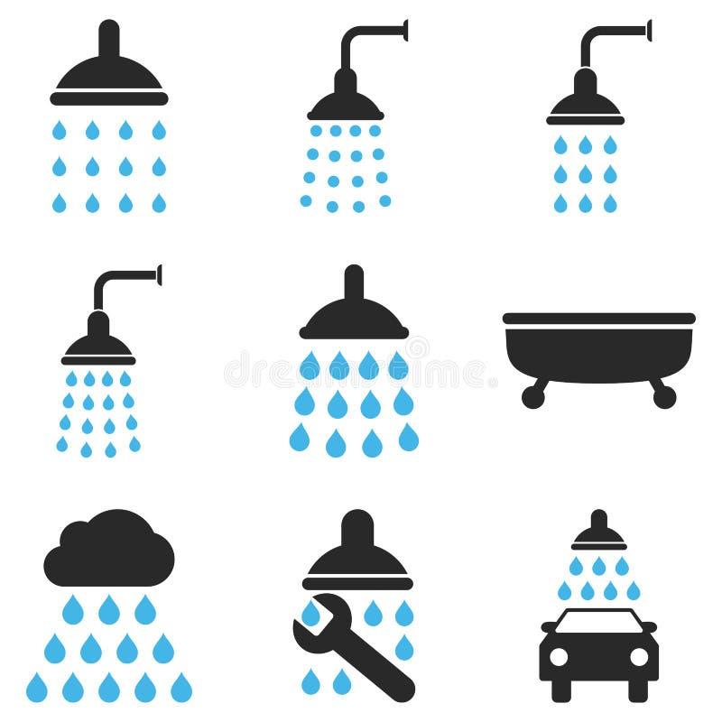 Dusch och uppsättning för badvektorsymbol stock illustrationer