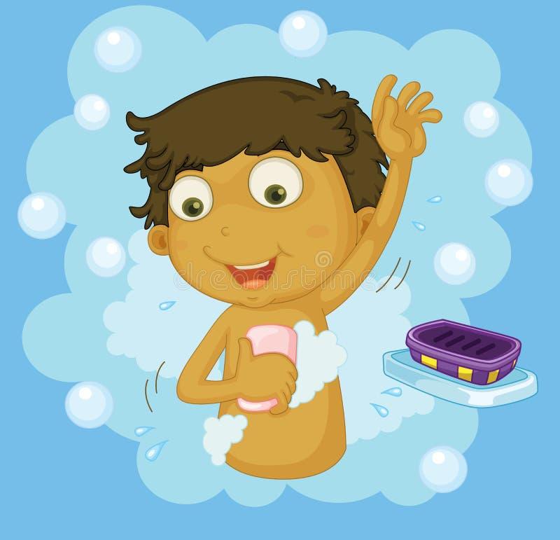 duscha för pojke vektor illustrationer