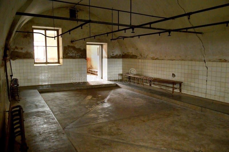 Duschar på den Terezin koncentrationslägerTjeckien fotografering för bildbyråer