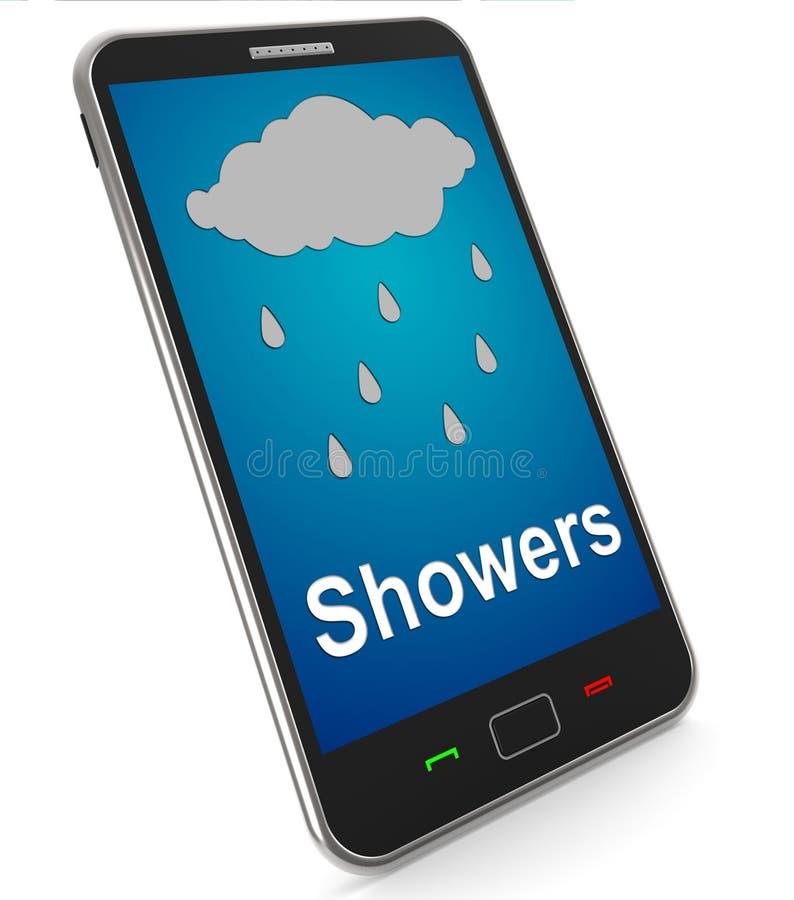 Duschar på mobilt hjälpmedel regnar regnigt väder royaltyfri illustrationer