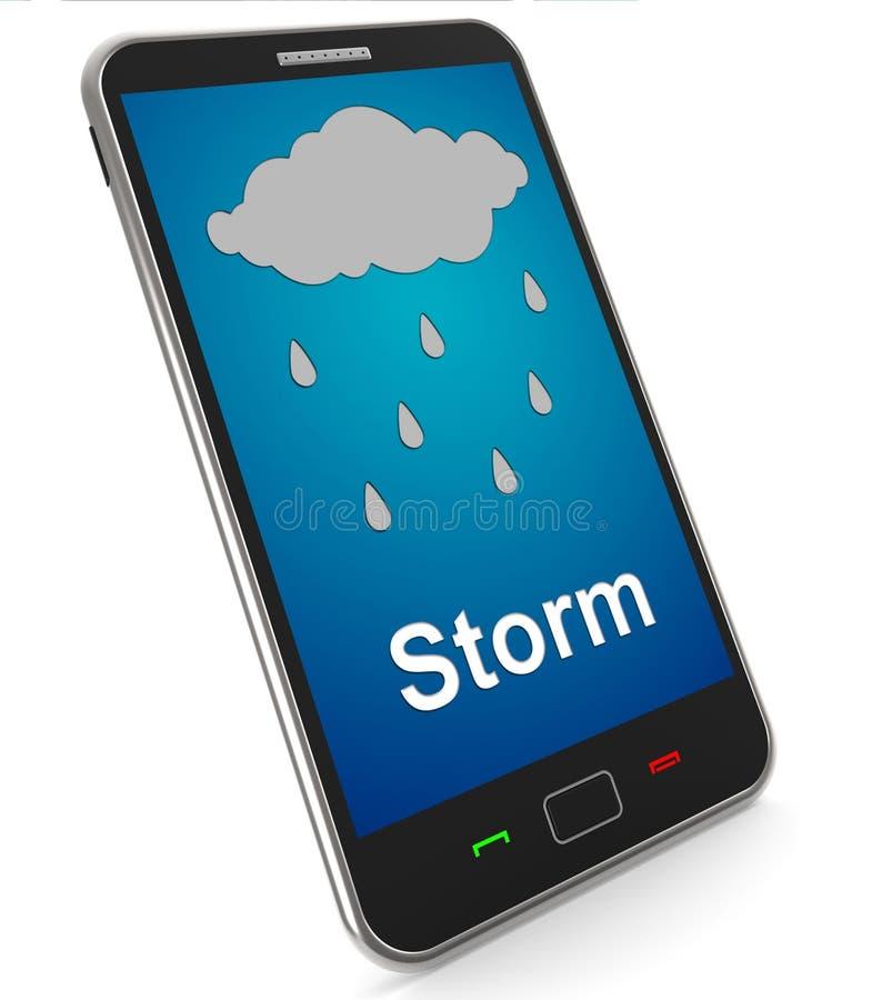 Duschar på mobilt hjälpmedel regnar regnigt väder vektor illustrationer