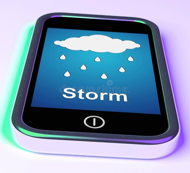 Duschar på telefonhjälpmedel regnar regnigt väder stock illustrationer