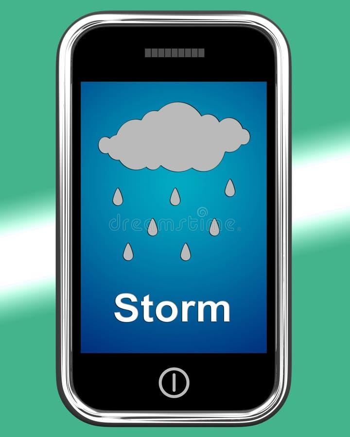 Duschar på telefonhjälpmedel regnar regnigt väder royaltyfri illustrationer