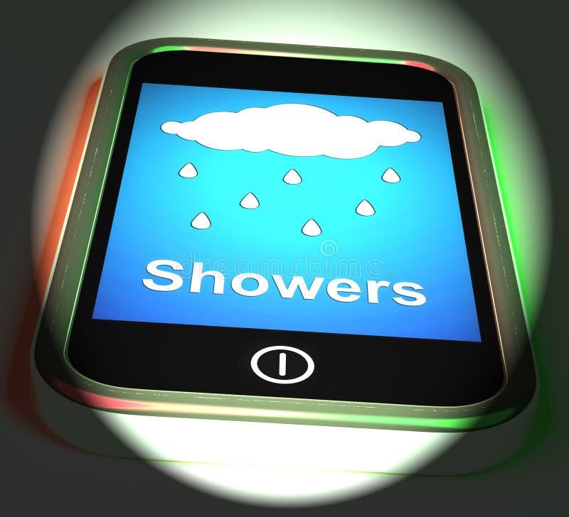 Duschar på telefonskärmar regnar regnigt väder vektor illustrationer