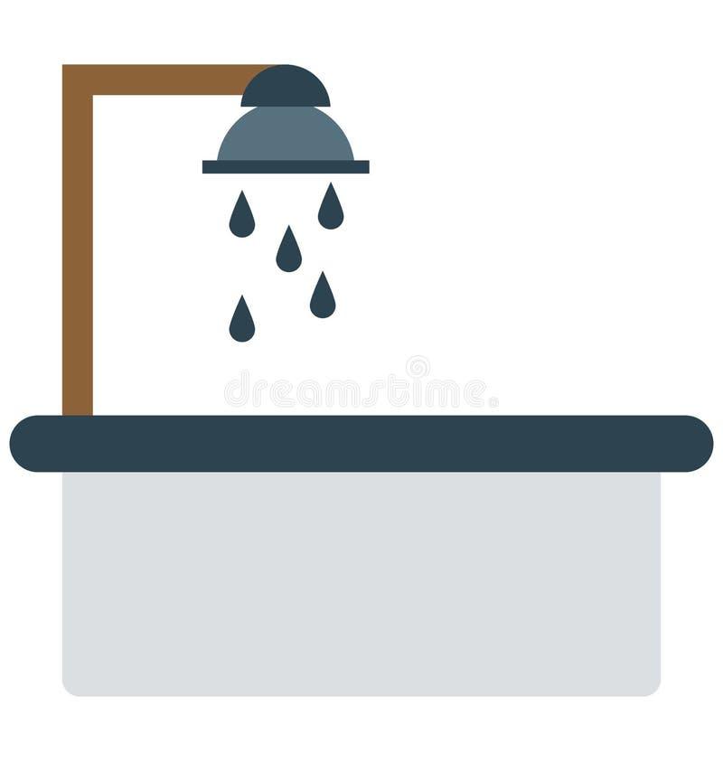 Duschen badar, badet isolerade vektorsymboler kan vara ändrar med någon stil stock illustrationer