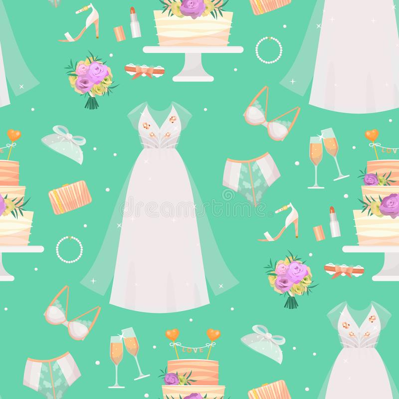 Duschen för stil för mode för vektorn för tillbehör för bröllopbrudklänningen skissar den brud- den åtföljande ståenden för dekor vektor illustrationer