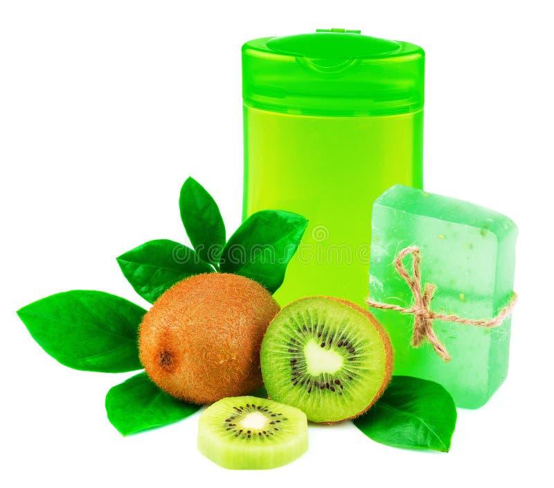 Duschenprodukte mit Frucht lizenzfreies stockfoto
