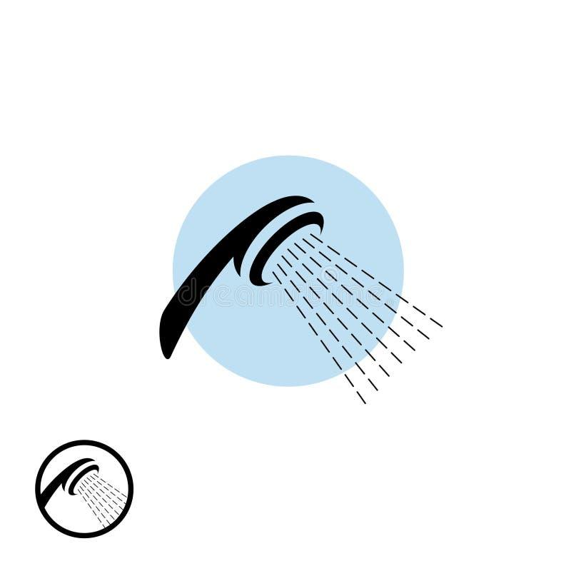 Duschkopfikone mit Wasserstrom stock abbildung