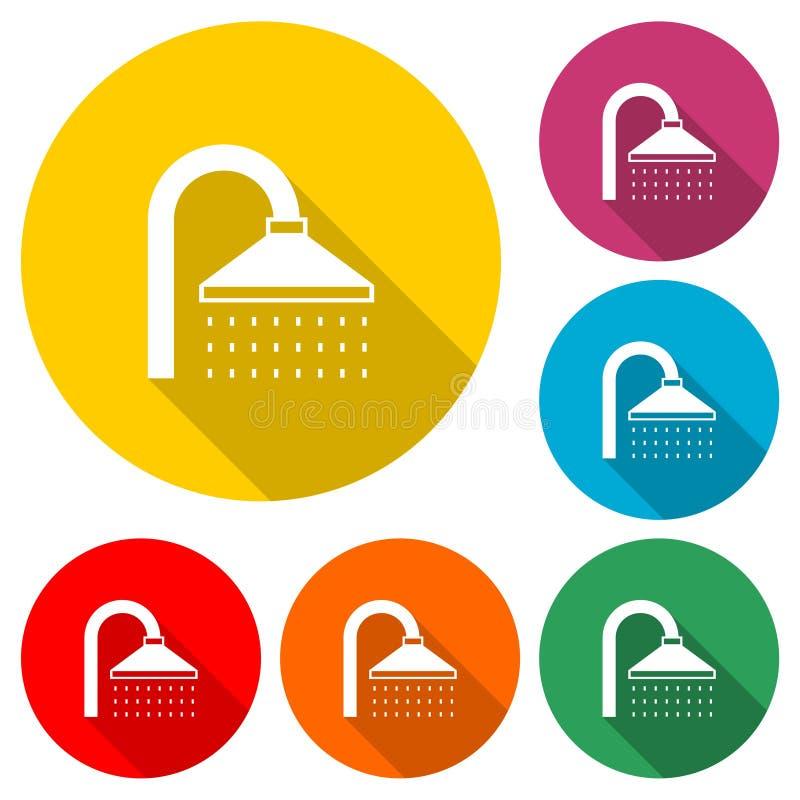 Duschkopfikone oder Logo, Farbsatz mit langem Schatten stock abbildung