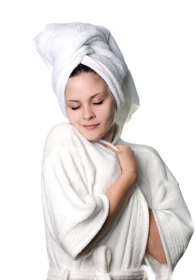 duschkvinnabarn royaltyfri fotografi