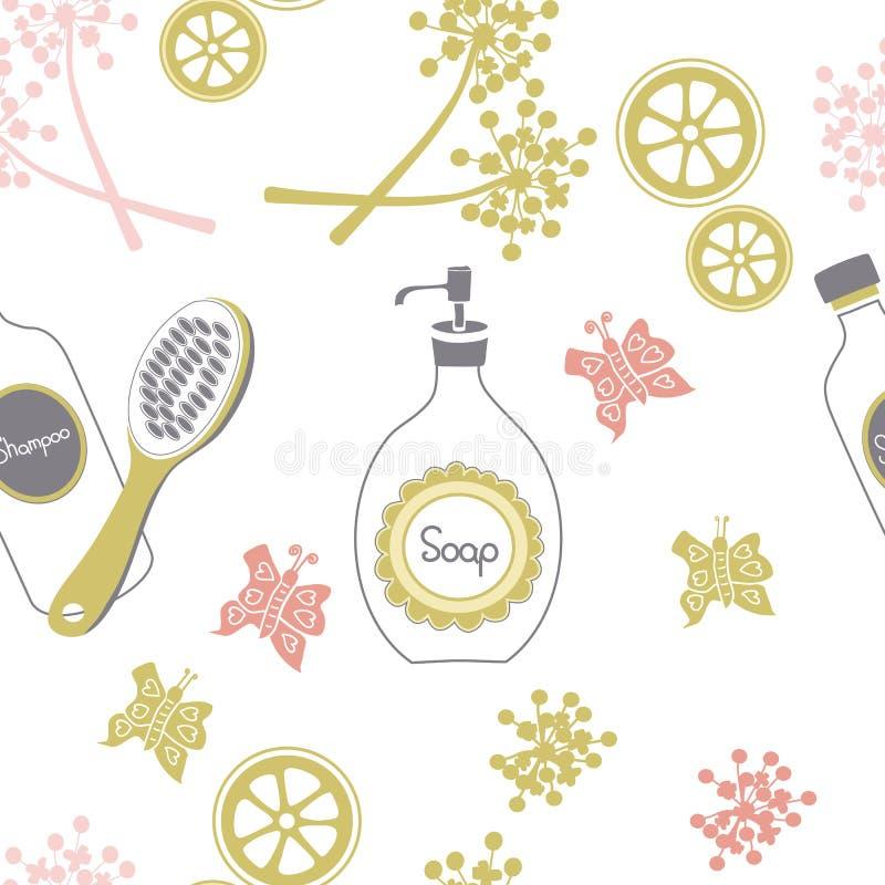 Duschzeitbadekurort im Land Nahtloses Wiederholungsmuster lizenzfreie abbildung
