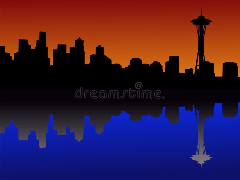 dusk ορίζοντας του Σιάτλ ελεύθερη απεικόνιση δικαιώματος