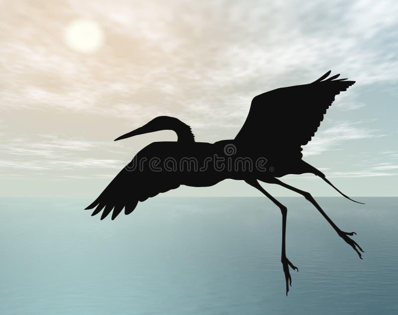 dusk πετώντας πελαργός ελεύθερη απεικόνιση δικαιώματος