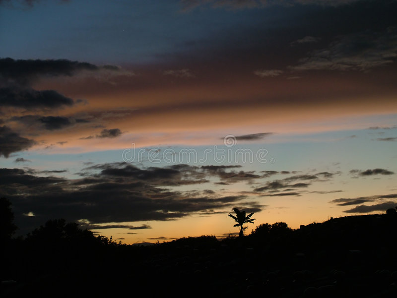 Dusk. At a hill stock image