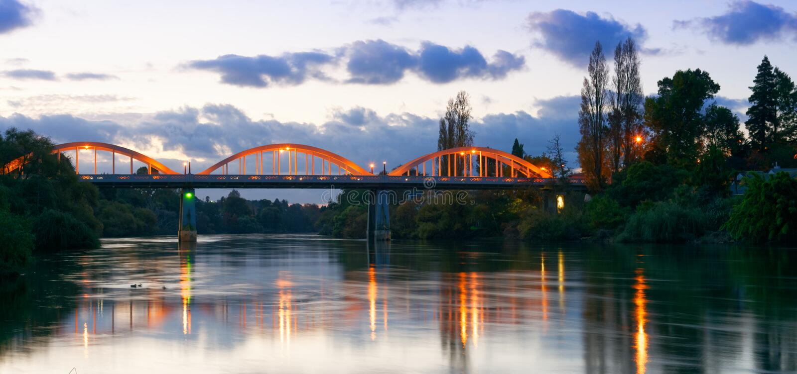 Dusk along the Waikato River in Hamilton, New Zealand stock image