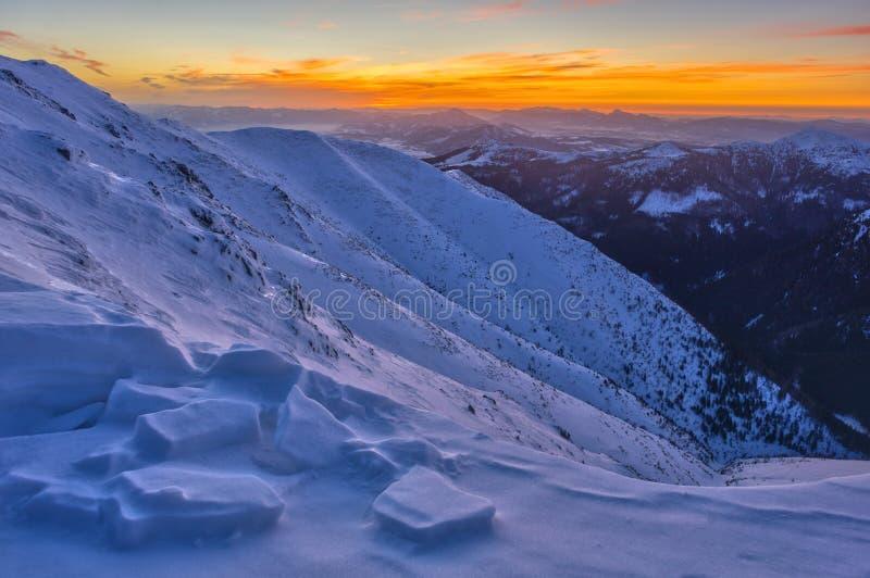 Dusk aus dem Prislop-Berg in der Westtatra stockfoto