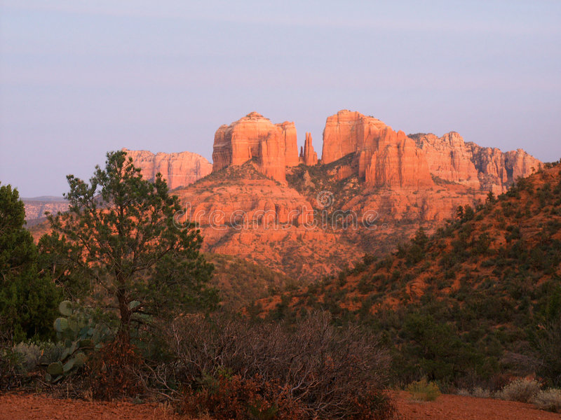 Download Dusk at Cathedral Rock stock image. Image of arid, sunset - 2483073