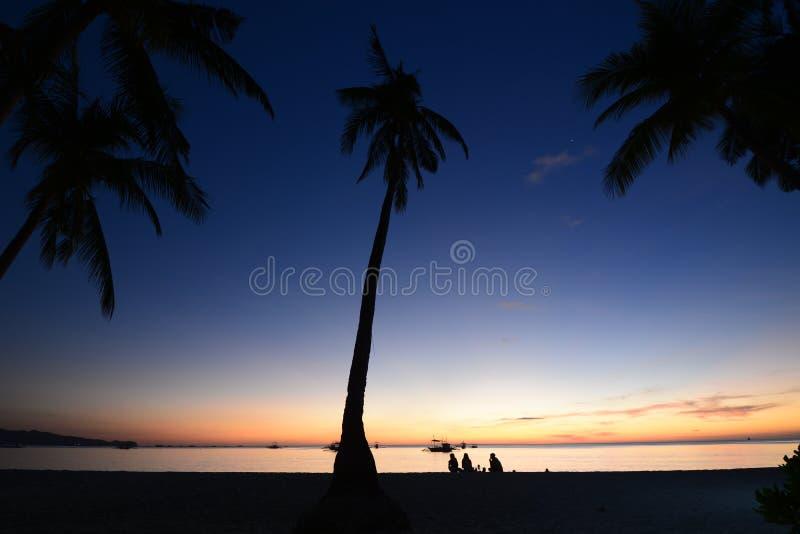 Dusk colours on White Beach. Boracay Island. Western Visayas. Philippines. Dusk colours on White Beach. Boracay Island. Western Visayas stock photography