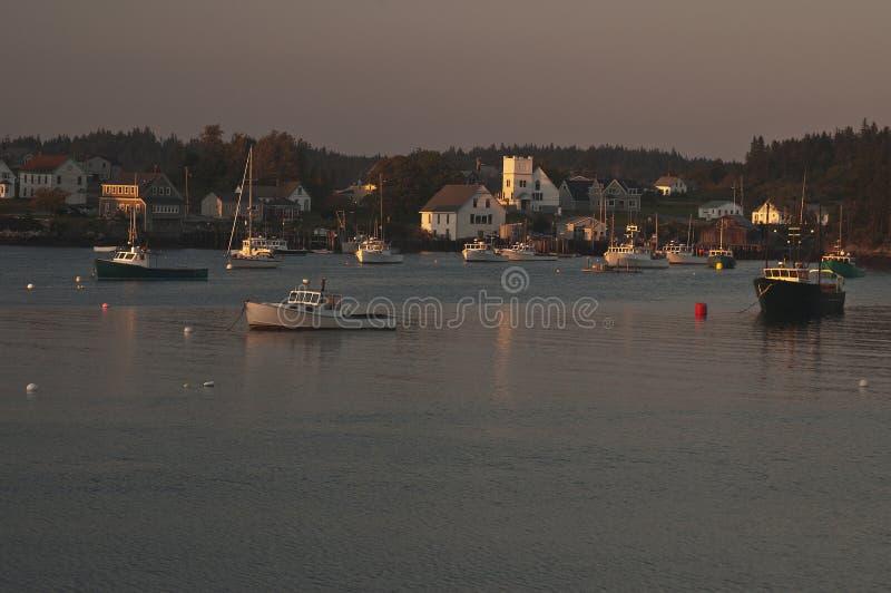 Dusk on Cutler Harbor, Maine royalty free stock photos