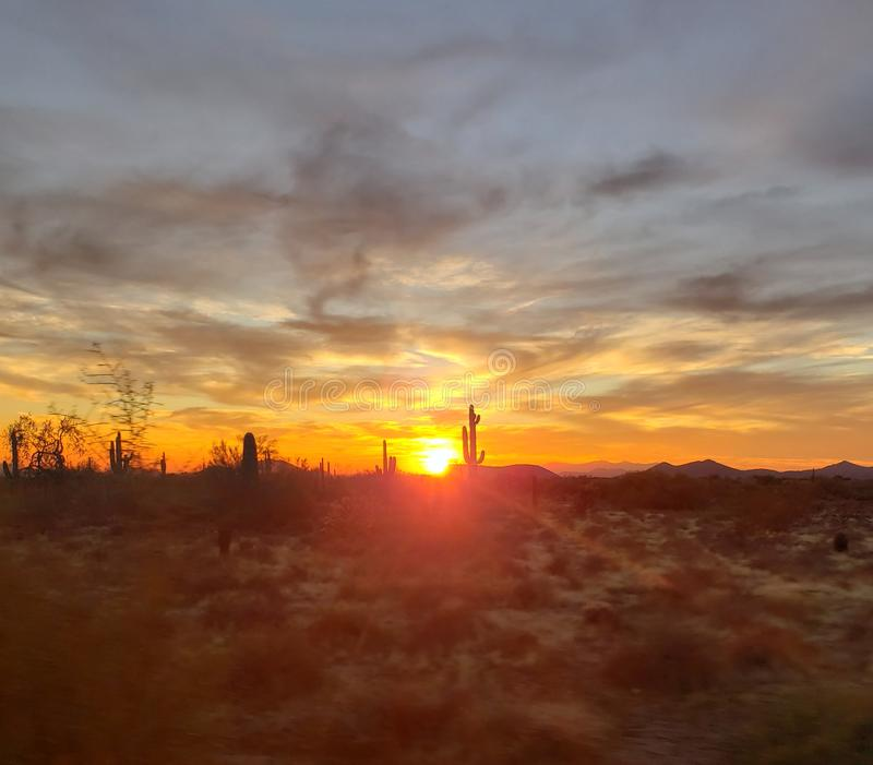 Dusk at Days end in the sonoran preserve royalty free stock image