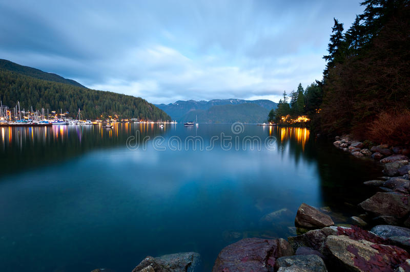 Dusk at Deep Cove, North Vancouver, Canada stock image