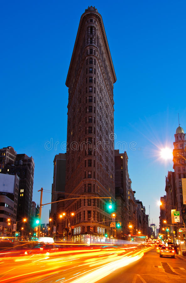 Dusk at the Flatiron Building, New York City royalty free stock photos