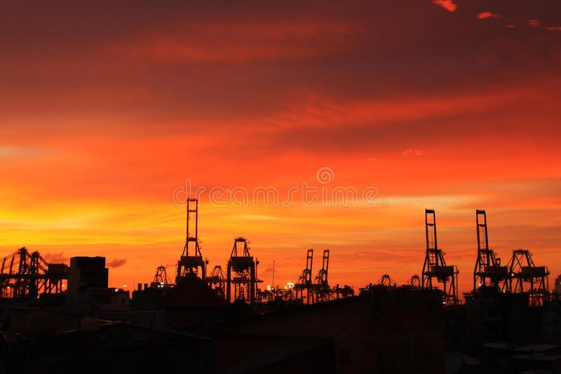 Dusk of Harbor. And the crane stock photography