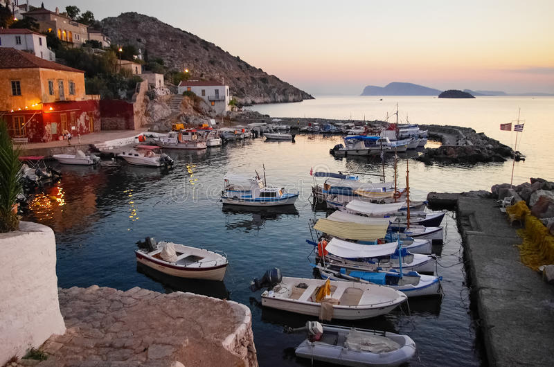 Dusk in Hydra island. The picturesque village of Hydra island, Greece, at dusk stock image