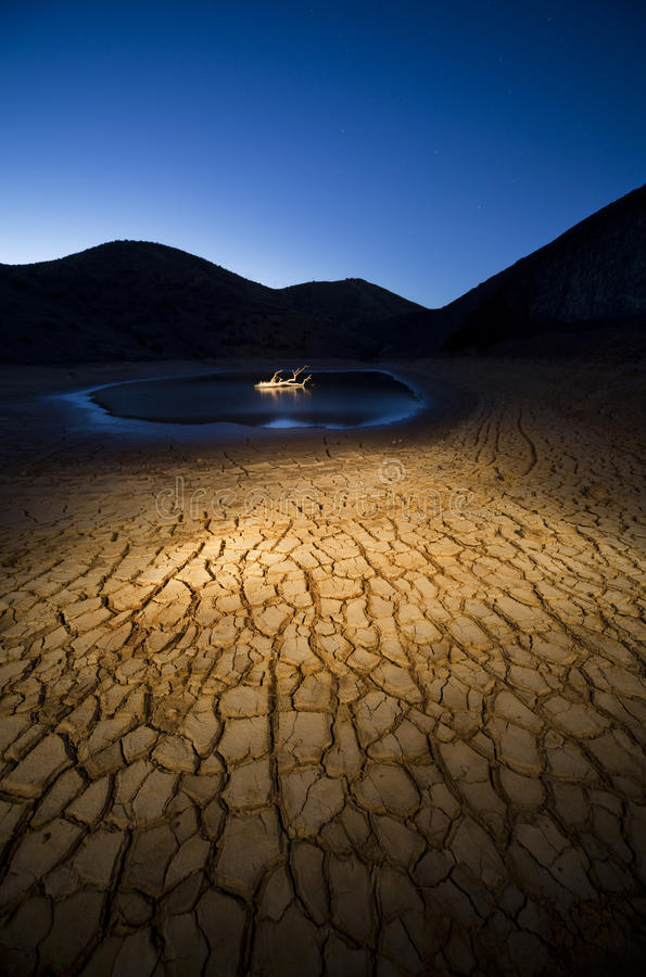 Download Dusk in a land of drought stock image. Image of pond - 15609017