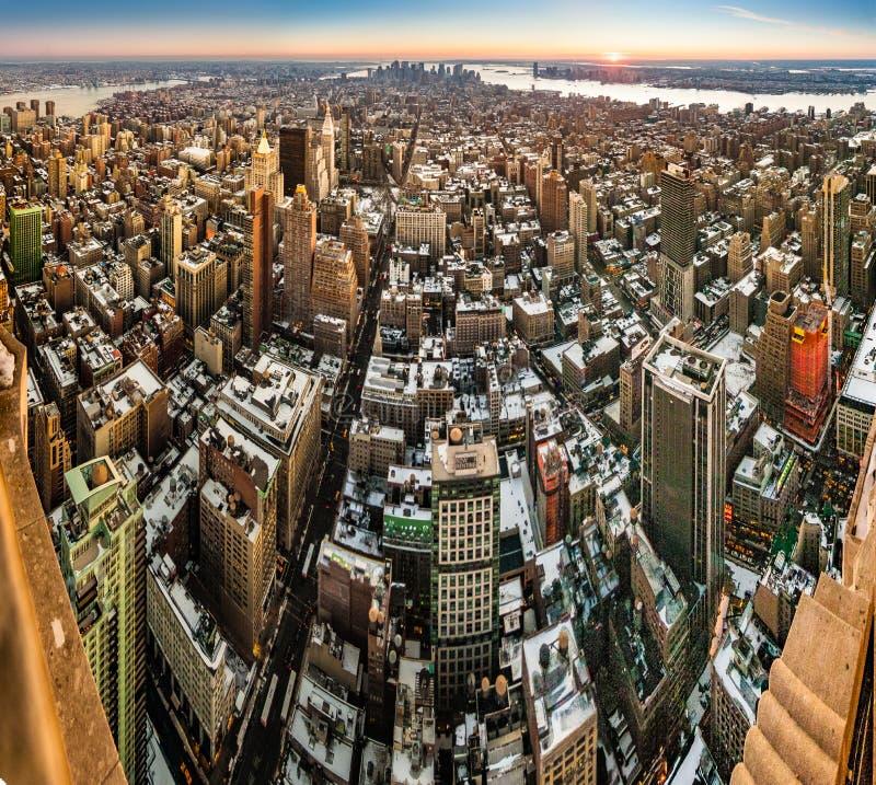 Dusk in Lower Manhattan, New York, United States. NEW YORK, UNITED STATES - DECEMBER 24, 2009: Dusk in Lower Manhattan neighborhood, New York City, United States royalty free stock image