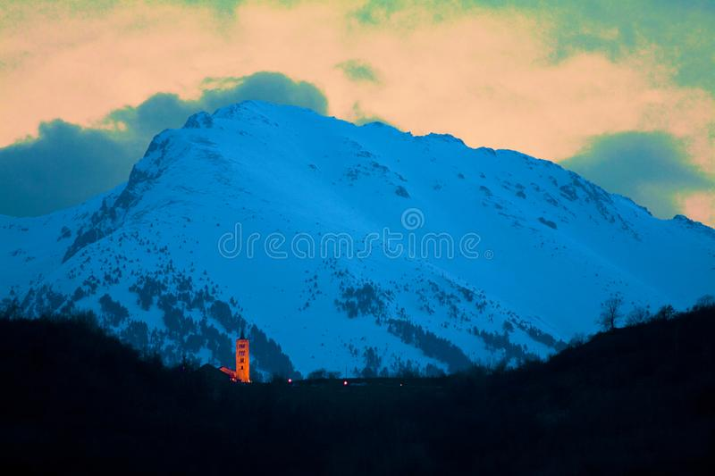 Dusk in the middle of the Pyrenees stock photos