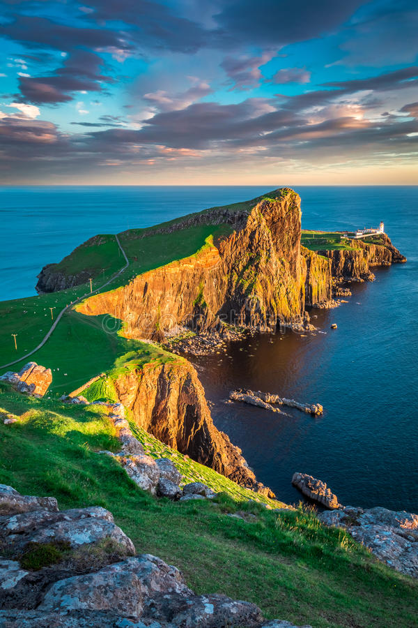 Dusk at the Neist point lighthouse in Isle of Skye, Scotland royalty free stock image