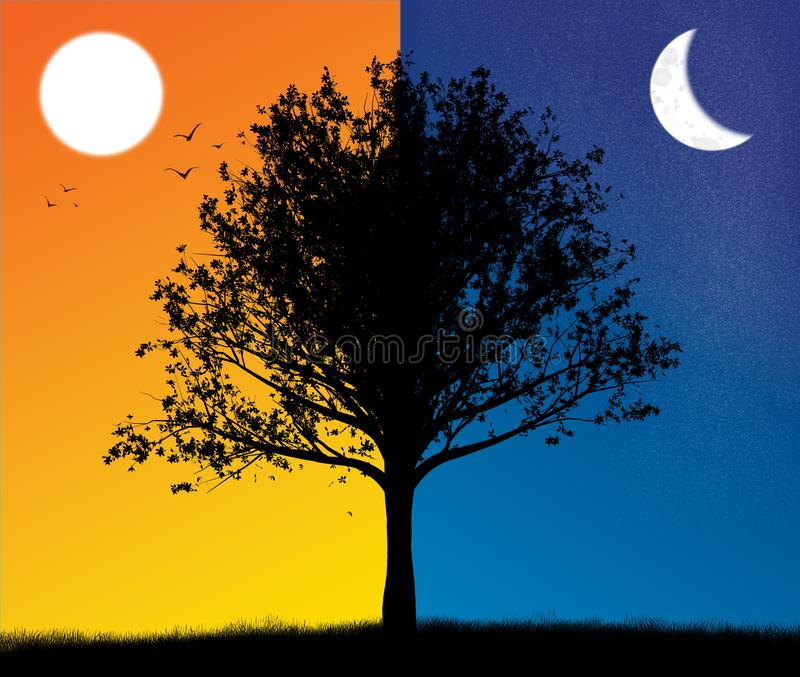 Dusk and night tree silhouette with sun and moon stock image