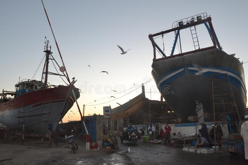 Dusk in the old Fishingport of Essaouira royalty free stock photos