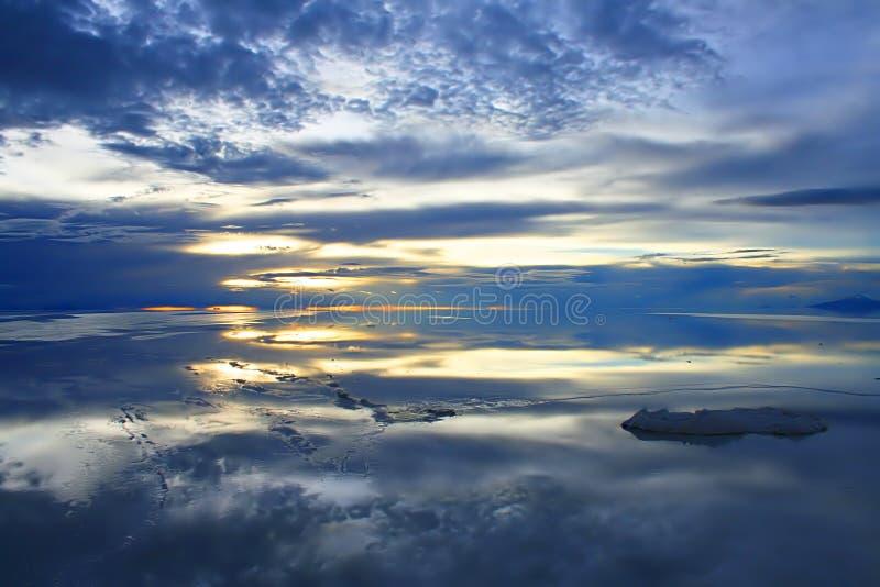 Dusk over the Bolivian salt flats stock image