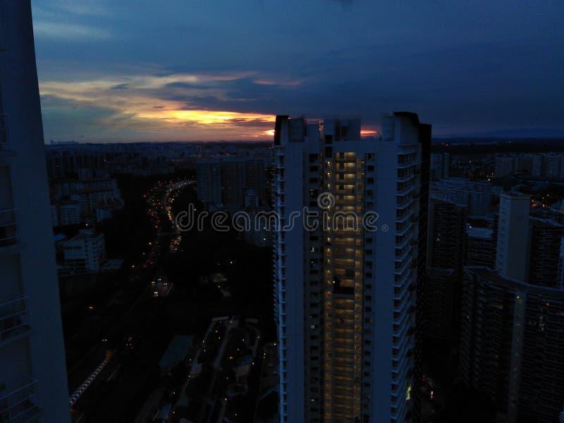 Dusk over Bukit Batok, Singapore. Evening, sun, glow, sunset, sky, building, night, scenery, block, tall, point, high, aerial, view, horizon, asia, twilight stock photography