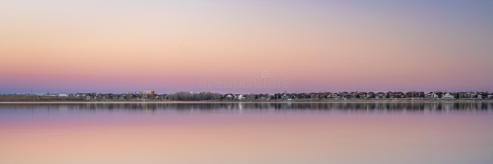 Dusk over lake in Colorado. Boy Lake State Park panorama royalty free stock photography