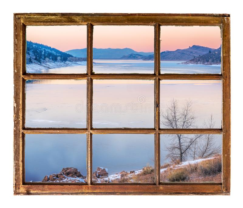 Open Window At Dusk: Winter In Mountain Valley Stock Photo. Image Of River