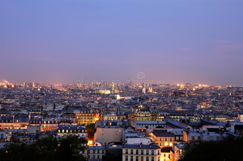 Dusk over Paris - wide panoramics stock photo