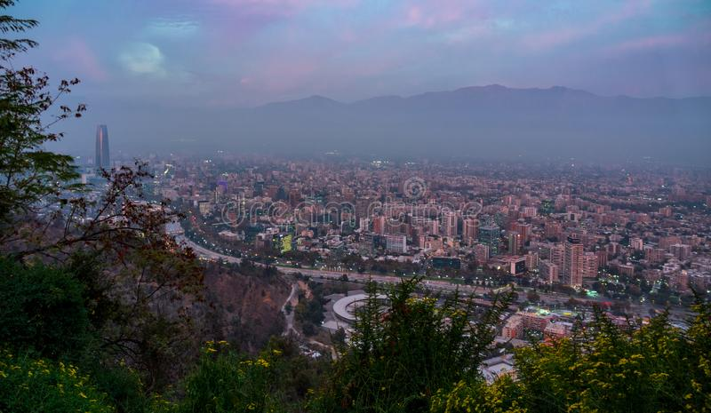 Dusk over Santiago de Chile capital with misty weather stock image
